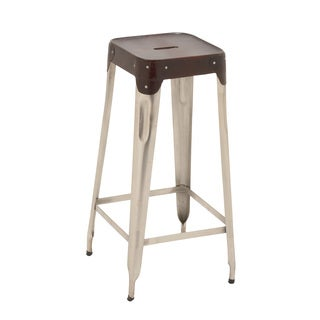 "Attractive Metal Real Leather Bar Stool 15""W 30""H"