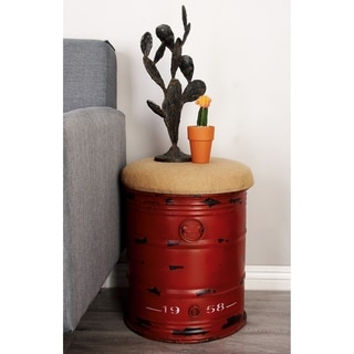 Vintage Inspire Stool In Unique Oil Drum Shape