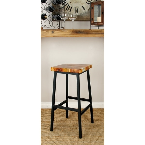 Natural 30 Inch Resin Coated Teak Wood And Iron Bar Stool