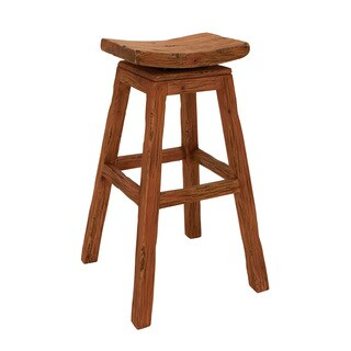 Contemporary Styled Wood Mahogany Stool