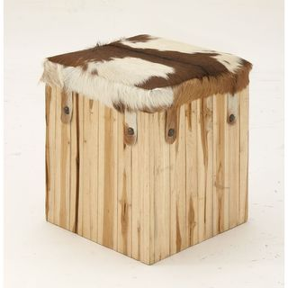 Sophisticated Wood Leather Hair Square Stool