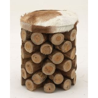 37645 Modern Wood Hide Leather Round Stool