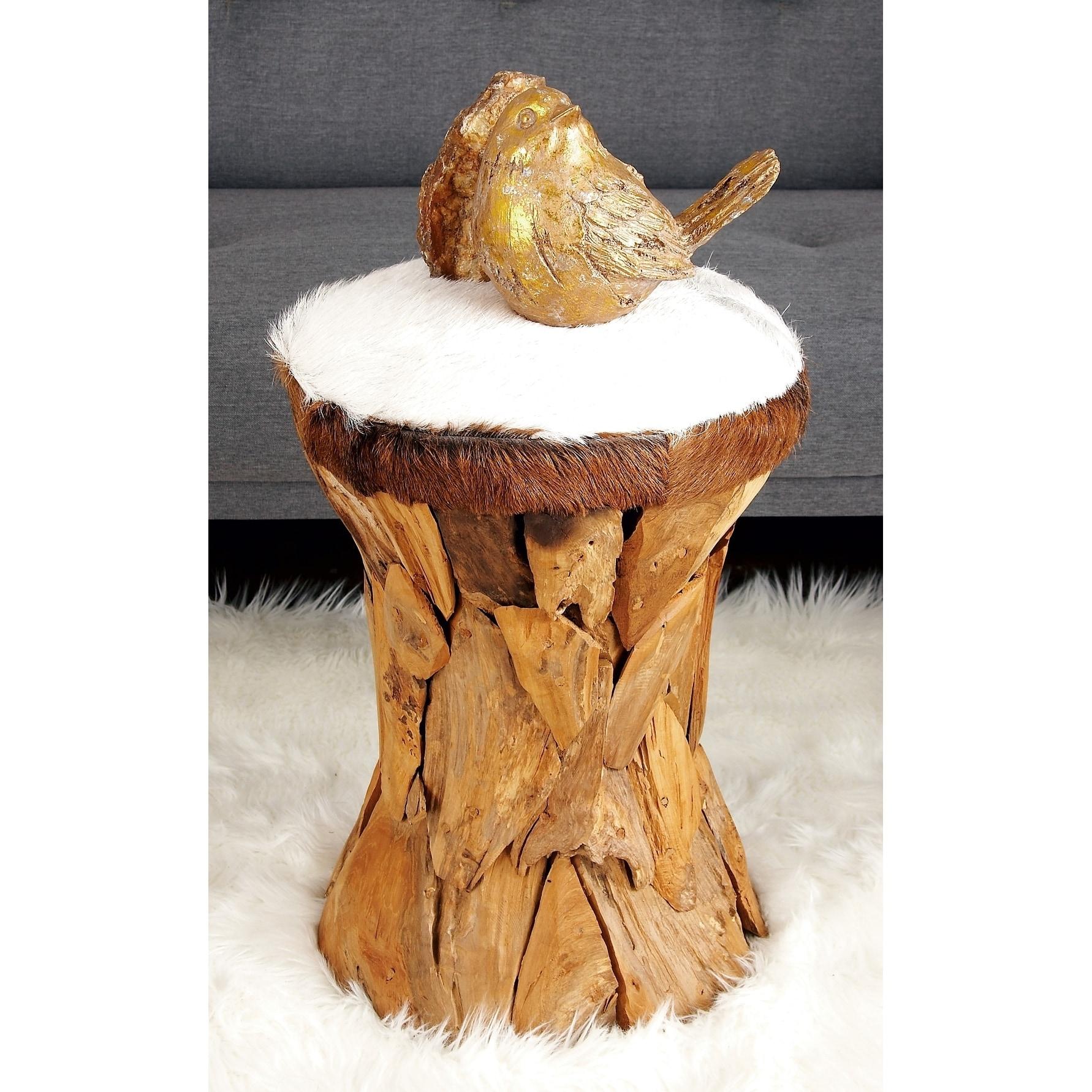 Studio 350 37644 Modern Wood Hide Leather Round Stool (St...