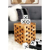Inventive Teak Square Block Stool