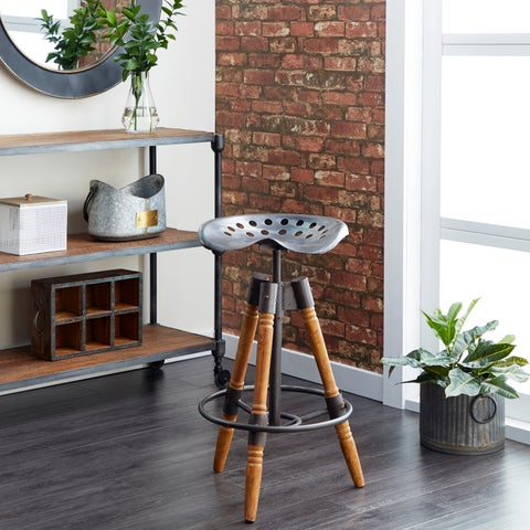 Industrial 27 Inch Iron and Wood Tripod Bar Stool by Studio 350