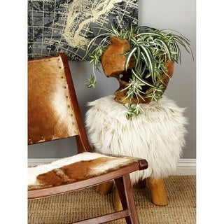 Farmhouse 19 X 13 Inch Teak and Faux Fur Accent Stool by Studio 350 - N/A