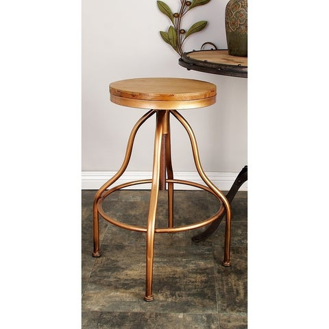 Industrial 34 Inch Iron and Wood Adjustable Bar Stool by Studio 350