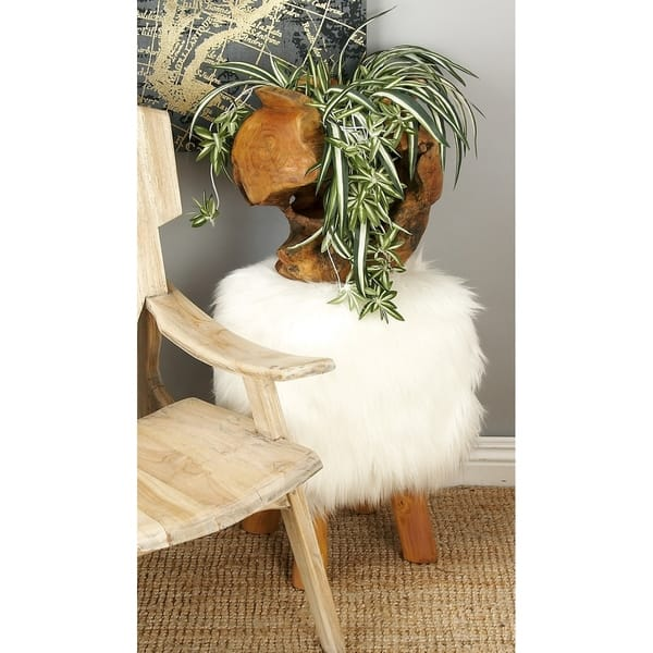 Awesome Shop Farmhouse 19 Inch Faux Fur Stool With Teak Wood Legs By Cjindustries Chair Design For Home Cjindustriesco