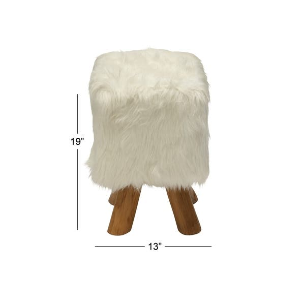 Fine Shop Farmhouse 19 Inch Faux Fur Stool With Teak Wood Legs By Cjindustries Chair Design For Home Cjindustriesco