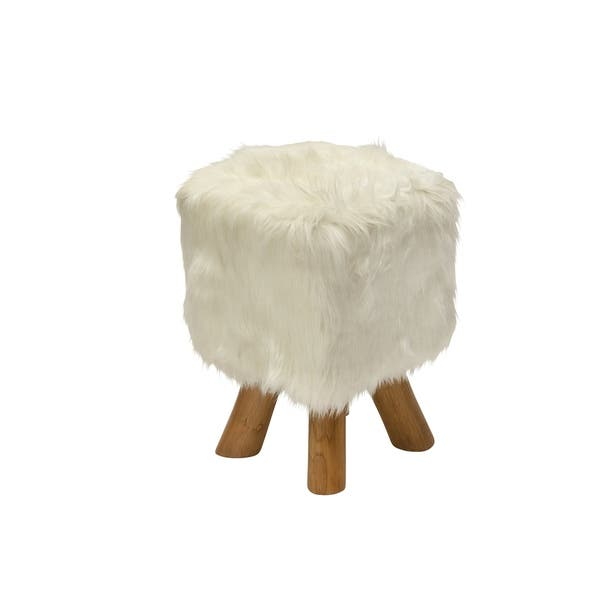 Excellent Shop Farmhouse 19 Inch Faux Fur Stool With Teak Wood Legs By Cjindustries Chair Design For Home Cjindustriesco