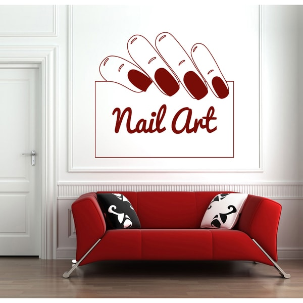 Beauty salon manicure Wall Art Sticker Decal Red  sc 1 st  Overstock.com & Shop Beauty salon manicure Wall Art Sticker Decal Red - Free ...