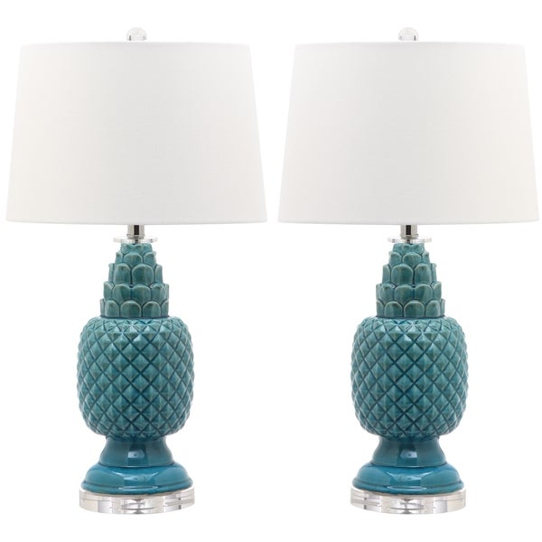 Safavieh Lighting 27.5-inch Blakely Teal Table Lamp (Set of 2)
