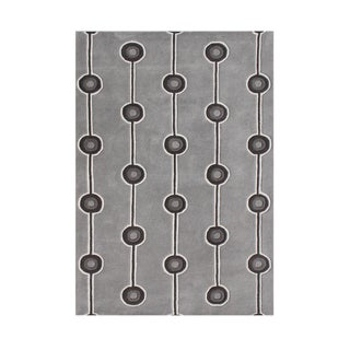 Alliyah Lines and Dots Steel Grey Wool Area Rug (5' x 8')