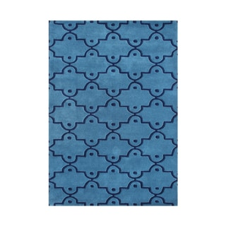 Alliyah Marrakech Dots Blue Wool Moroccan Trellis Floor Rug (5' x 8')