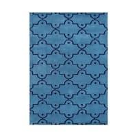 Alliyah Marrakech Dots Blue Wool Moroccan Trellis Floor Rug (5' x 8')
