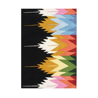 Alliyah Geometric Cityscape Dynamic Contemporary Cosmopolitan Wool Accent Rug (5' x 8')
