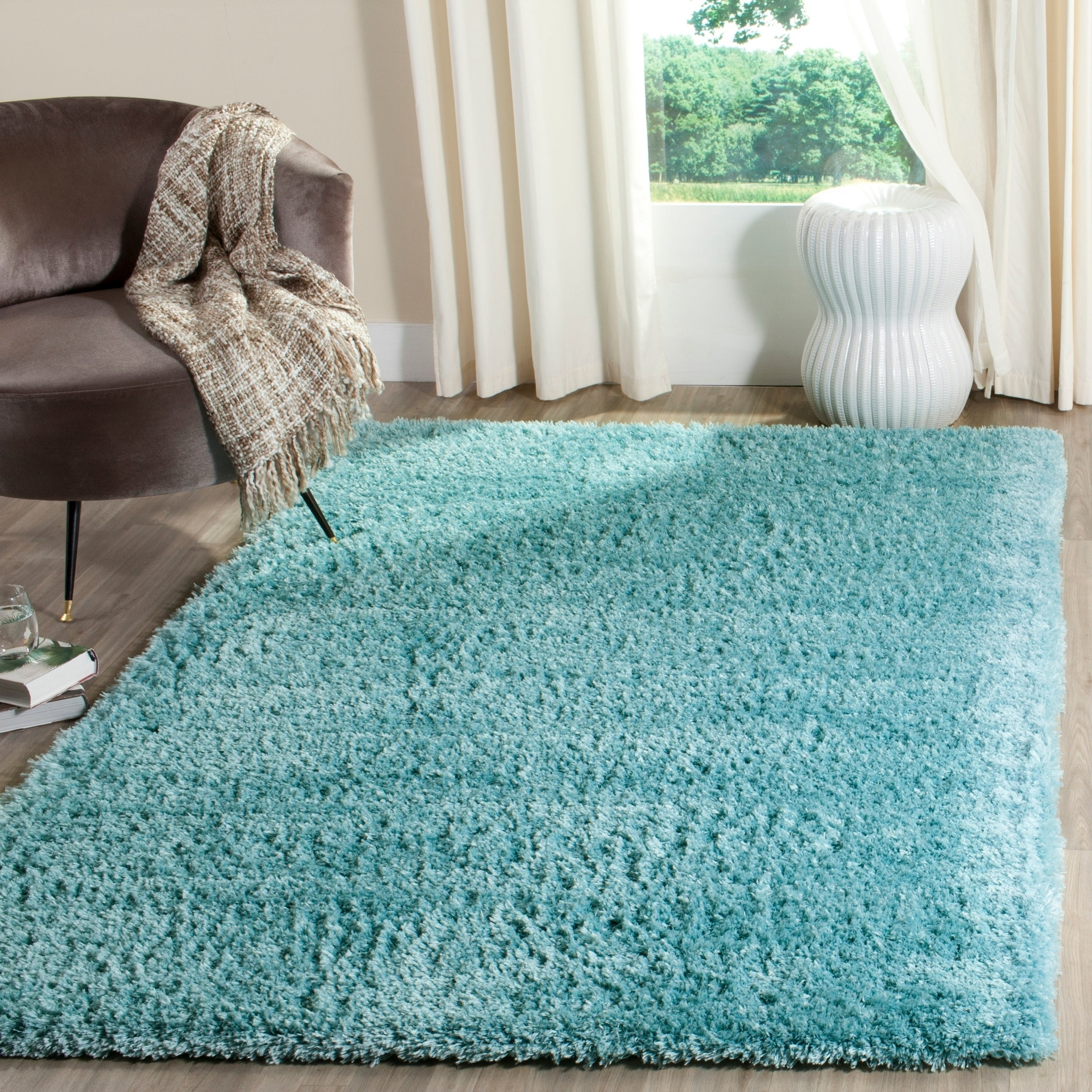Safavieh Indie Shag Turquoise Polyester Rug (8' x 10') (S...