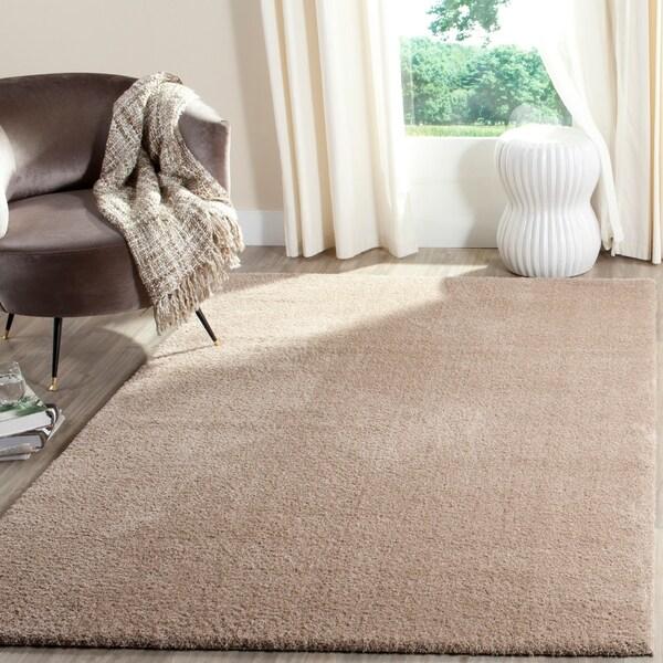 Velvet Soft Rugs In Natural Beige: Shop Safavieh Velvet Shag Light Beige Polyester Rug