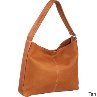 LeDonne Side-zip Pocket Leather Shoulder Tote