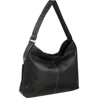 LeDonne Side-zip Pocket Leather Shoulder Tote