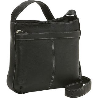 LeDonne Women's Leather Zip Pocket Shoulder Bag
