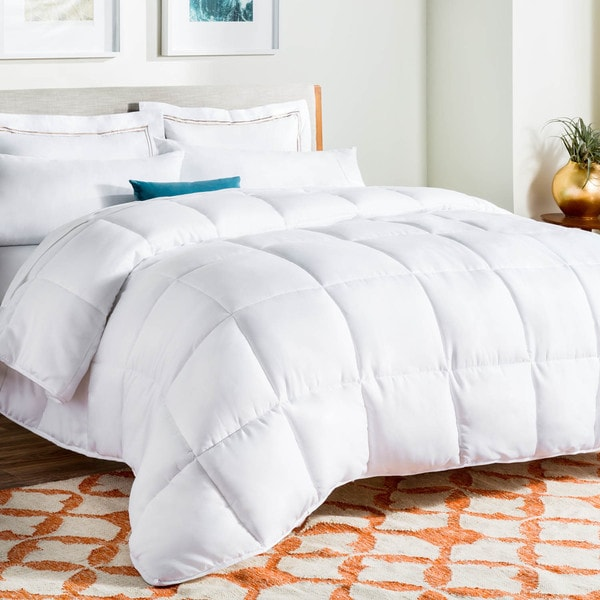 Linenspa White Down Alternative Quilted Oversized King Size Comforter With Corner Duvet Tabs As Is