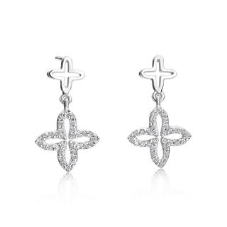 Andrew Charles 14k White Gold 1/3ct TDW Diamond Dangling Flower Earrings (H-I, SI2-I1)