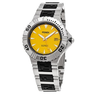Fendi Men's F495150 'Nautical' Yellow Dial Stainless Steel/Rubber Swiss Quartz Watch
