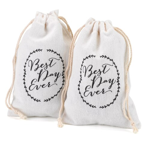 Rustic Vines White Cotton Imprinted Favor Bags
