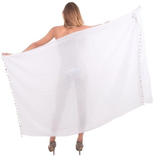 La Leela Gentle White Rayon Cover-up Sarong with Decorative Shell Tassels and Sarong Clip