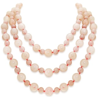 8mm and 12mm Rose Quartz Gemstones Endless Necklace 64-inch Length