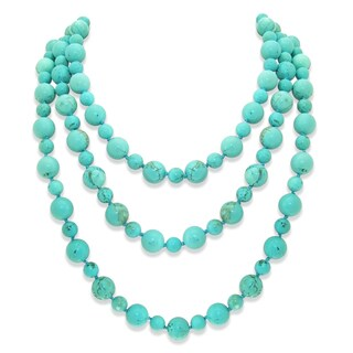 8mm and 12mm Howlite Turquoise Gemstones Endless Necklace 64-inch Length