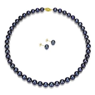 DaVonna 14k Gold Black Freshwater Pearl Necklace and Earring Set (8-9 mm/ 18 in)