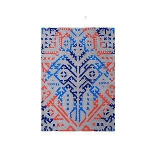 The Alliyah Ash Suzani Sketchbook Abstract 19th Century Textiles Wool Rug (5' x 8')
