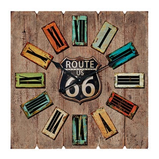 Square Shaped Route 66 Themed Wooden Wall Clock By Entrada