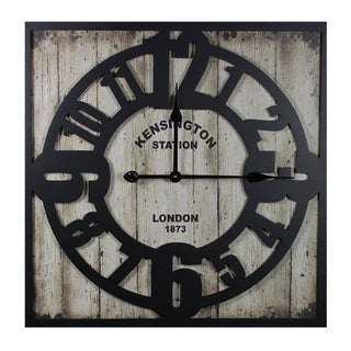 Rustic Appeal Stunning Wooden Metal Wall Clock By Entrada