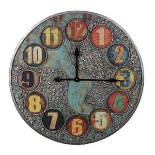 Unique And Stylish Vintage Themed Metal Wall Clock By Entrada