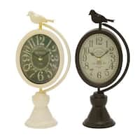The Gray Barn Jartop Metal Table Clock Assorted (Set of 2)
