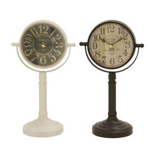 Copper Grove Chatfield Metal Table Pedestal Clocks (Set of 2)