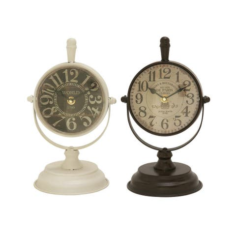 Copper Grove Chatfield Classic Metal Table Clock (Set of 2)