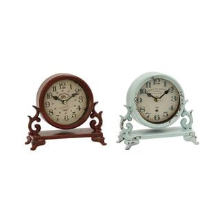 The Gray Barn Crow Haven Red and Sea Foam Finish Metal Table Clocks