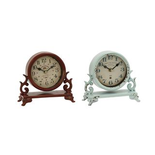 Copper Grove Chatfield Brown and White Finish Metal Table Clocks