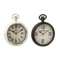 Copper Grove Chatfield Metal Table Clock (Set of 2)