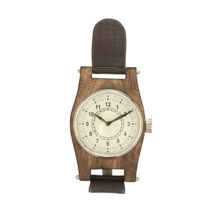 Attractive Wood Leather Aluminum Table Clock