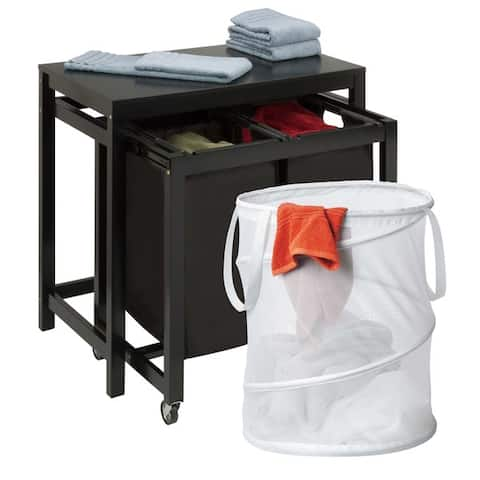 Honey Can Do LDYX05949 2-bag Laundry SorterTable and Pop-up Hamper Set