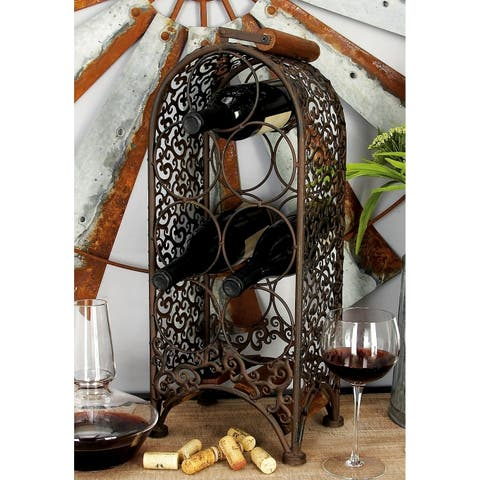 Traditional 23 x 10 Inch Iron and Wood Lattice Wine Rack by Studio 350
