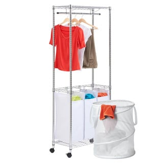 Honey-Can-Do LDYX05943 Garment Rack with Triple Laundry Sorter and Pop-up Laundry Hamper