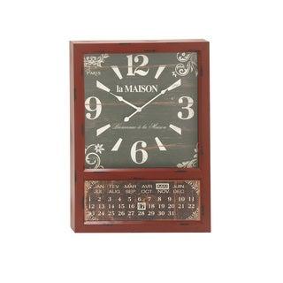Contemporary Styled Metal Calendar Wall Clock