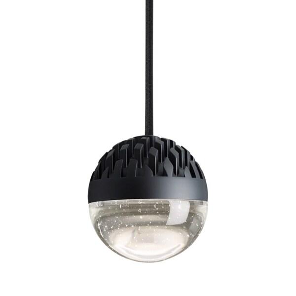 LBL Sphere 1 Light Rubberized Black and Cast Clear Line-Voltage Pendants