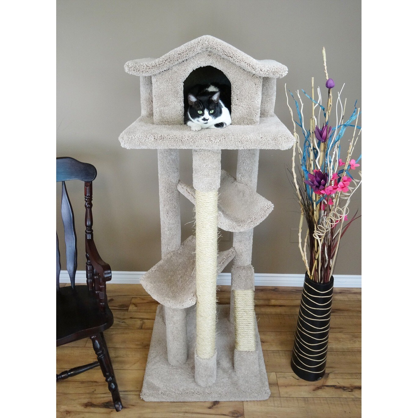 New Cat Condos Premier Extra Large Cat Tree Pagoda (Neutr...